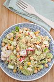 Quinoa Salad with chickpeas, red radish and cucumber