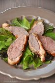 image of duck breast  - Salad with duck breast on a plate - JPG