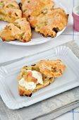 Scones with clotted cream and rhubarb