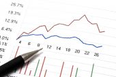 stock photo of stock market data  - Close up of a stock market analyze and a pen - JPG