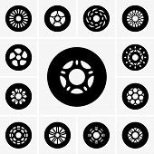 image of skate  - Set of rollers for skates on grey background - JPG