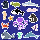 Cute Sea Creatures - Vector Illustration Set