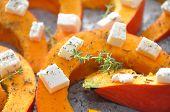 Roasted pumpkin with feta cheese