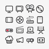 Different video industry icons set with rounded corners. Design elements