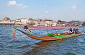 Boat On Chao Phraya River In Bangkok