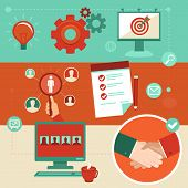 Vector Flat Employment Infographics Elements