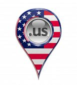 3D pin domain marker with American flag isolated