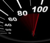 image of mph  - A speedometer with red needle pointing to 100 miles per hour - JPG