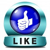 stock photo of follow-up  - like and follow us thumbs up blue icon or button - JPG