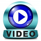 Play video clip button or watch movie online or in live stream, multimedia button banner or icon
