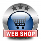 web shop icon or buying online shopping button for internet webshop or store