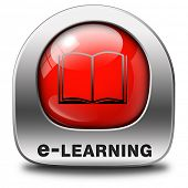 e-learning online internet tutorial class learning in open school or university virtual education elearning icon button or sign