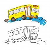 cartoon illustration of loosely colored bus on the road