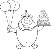 picture of ear candle  - Black And White Birthday Bulldog Cartoon Character Holding Up A Birthday Cake With Candles - JPG