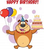 foto of ear candle  - Happy Birthday Greeting With Brown Bulldog Holding Up A Birthday Cake With Candles Cartoon Character - JPG