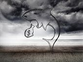 image of loan-shark  - Loan shark doodle against stormy sky on wall - JPG
