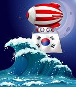 Illustration of a floating balloon with the South Korean flag
