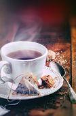 Tea Time. Cup Of Black Tea