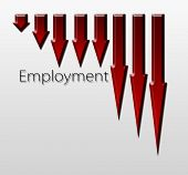 stock photo of macroeconomics  - Chart illustrating employment drop macroeconomic indicator concept - JPG