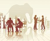 Silhouettes of an elephant in a busy office of people with reflections