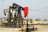 KERN COUNTY, CALIFORNIA - NOVEMBER 26, 2013: Pumpjacks extract oil from an oilfield in Kern County,