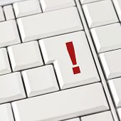 Computer Keyboard With A Red Exclamation Mark