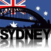 Sydney skyline and text reflected with Australian flag vector illustration