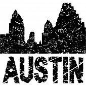 Grunge Austin skyline with text vector illustration