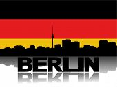 Berlin skyline and text reflected with German flag vector illustration