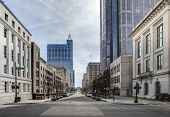 stock photo of intersection  - view of downtown raleigh - JPG