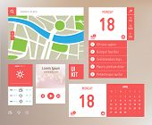 User interface kit with flat elements. Responsive design template