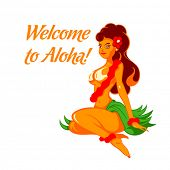 picture of hula dancer  - Cheerful native beauty welcome to the sunny Hawaii - JPG