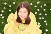 Little girl in fancy yellow dress holding an apple in a meadow full of flowers