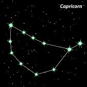 Capricorn Zodiac Sign Bright Stars In Cosmos.vector.