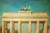 Retro Brandenburg Gate (Brandenburger Tor), famous landmark in Berlin, Germany,rebuilt in the late 18th century as a neoclassical triumphal arch