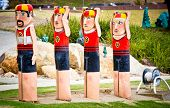 GEELONG - JANUARY 31: Colourful bollards on Geelong's foreshore. More than 100 by artist Jan Mitchel