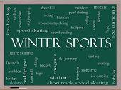 Winter Sports Word Cloud Concept On A Blackboard