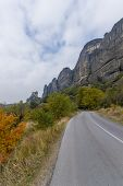 Road in Meteora in Greece with view on the monasteries