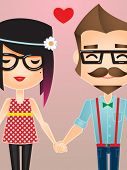 Vector illustration of a Hipster couple holding hands