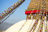 Bodhnath Stupa in Kathmandu. Close up.