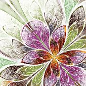 Beautiful Fractal Flower In Beige, Green And Violet. Computer Ge