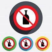 No Alcohol sign icon. Drink symbol. Bottle.
