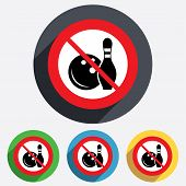 No Bowling game sign icon. Ball with pin skittle.