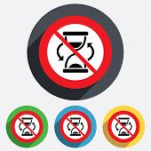 No time. Hourglass sign icon. Sand timer symbol.