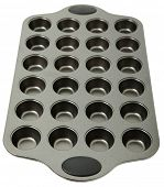 Empty Metal Muffin Tray over White