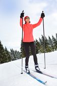 stock photo of nordic skiing  - A woman cross - JPG