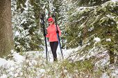 foto of nordic skiing  - A woman cross - JPG