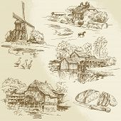 hand drawn collection of watermill and windmill