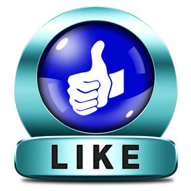 image of follow-up  - like and follow us thumbs up blue icon or button - JPG
