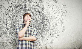 pic of thoughtfulness  - Young thoughtful handsome man in casual thinking over the ideas - JPG